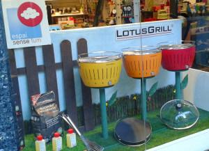 Escaparate promocional para Lotus Grill, barbacoa de verano en jardín con flores de colores, foto 2