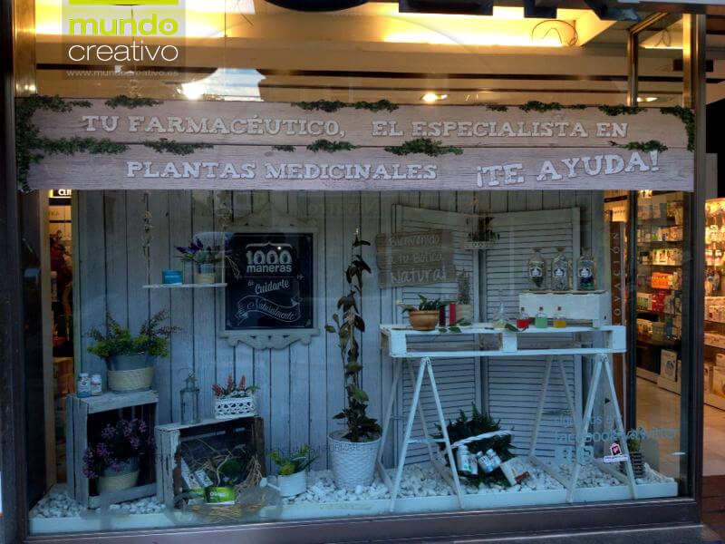 Escaparate natural Farmacia en Valencia, escaparatistas Mundo Creativo