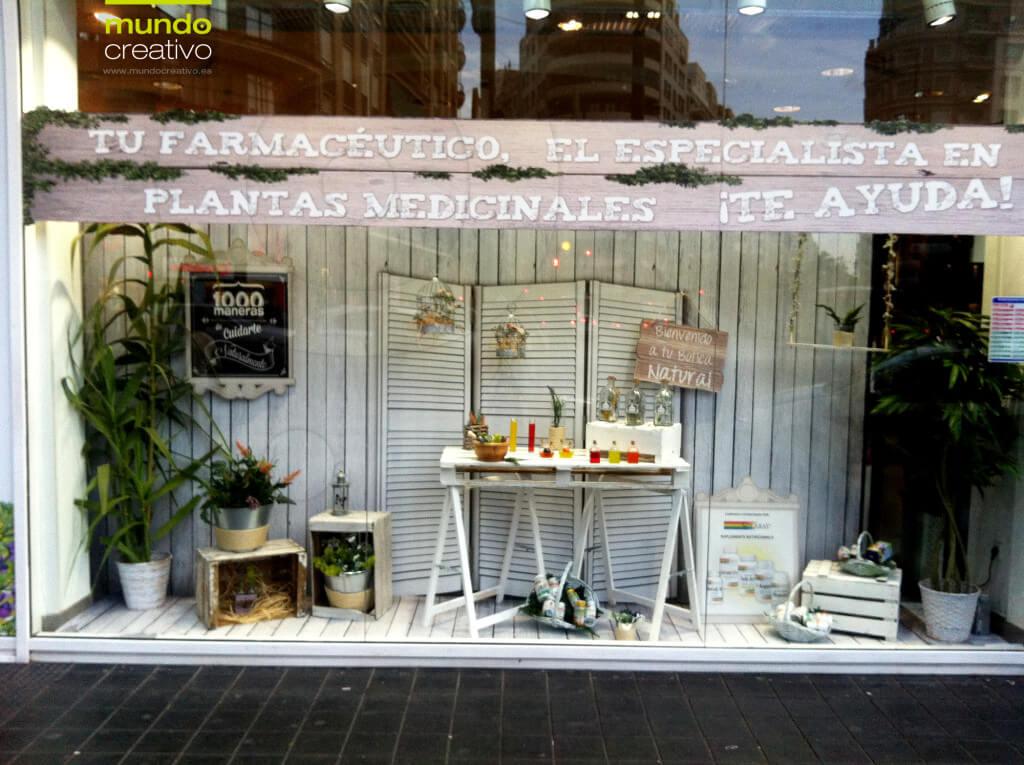 Escaparate natural Farmacia Boix, escaparatista en Valencia Mundo Creativo
