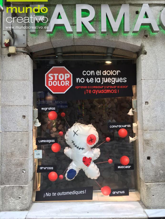 Escparate campaña Dolor en Farmacia Arenal, Madrid. Mundo Creativo