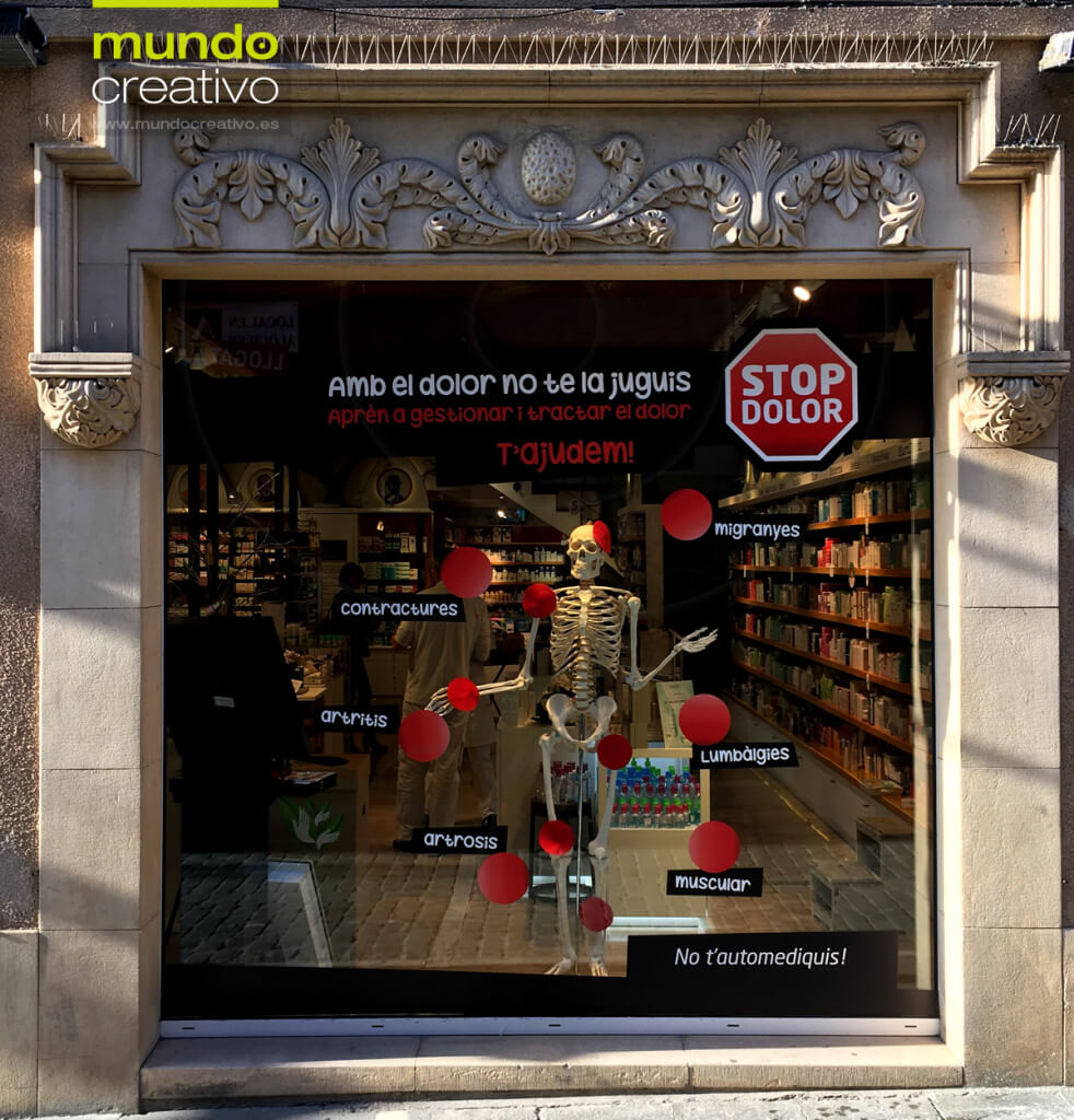 Escparate campaña Dolor en Farmacia Santa maria 1, Barcelona. Mundo Creativo