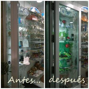 El antes y el después en el escaparate de Nova Andaina, Mírame escaparatismo, verano 2016; imagen 1