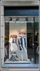 avance de temporada primavera-verano 2017 en el escaparate de Divela, moda multimarca en el centro de Lugo; imagen 1 Mírame escaparatismo
